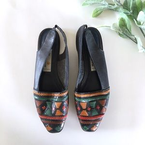 Liz Claiborne Vintage Leather Aztec Slingbacks